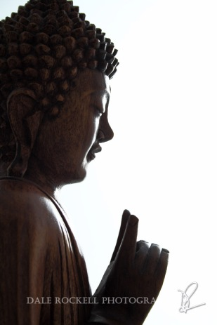 Wooden Buddha Statue in Teaching Pose (Portrait)