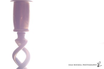 Backlit Brass Candlestick White Background